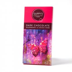 Guppy's Dark Chocolate Raspberry & Cocoa Nibs Bar 90g